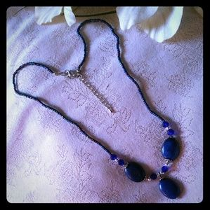 Vintage Blue Lapis & Seed Bead Necklace
